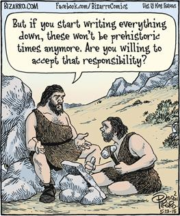 Bizarro Cave Man Writing